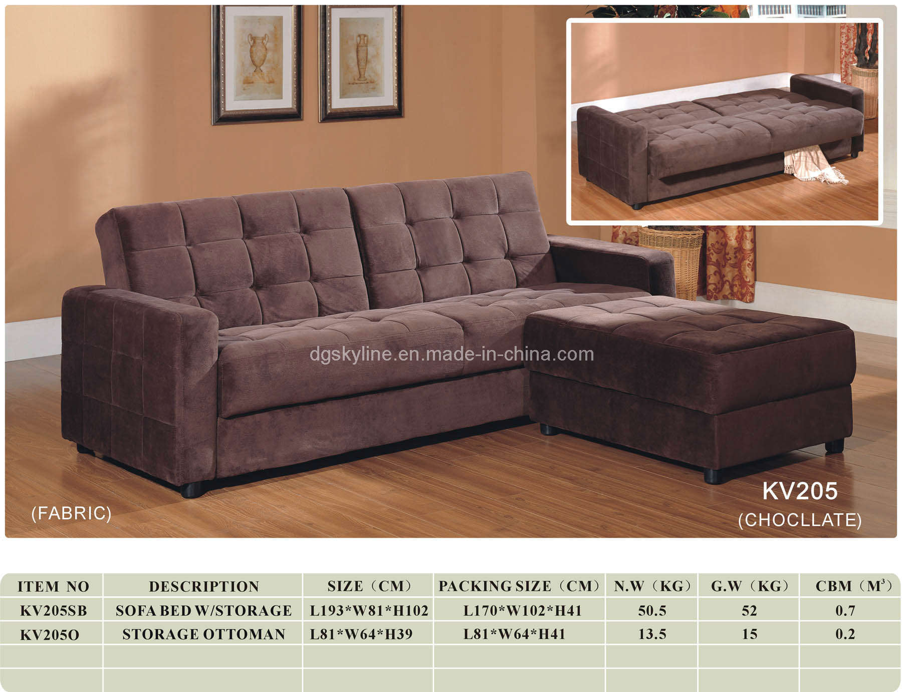 sofa bed with storage box jcpenney and loveseat china kv205 furniture