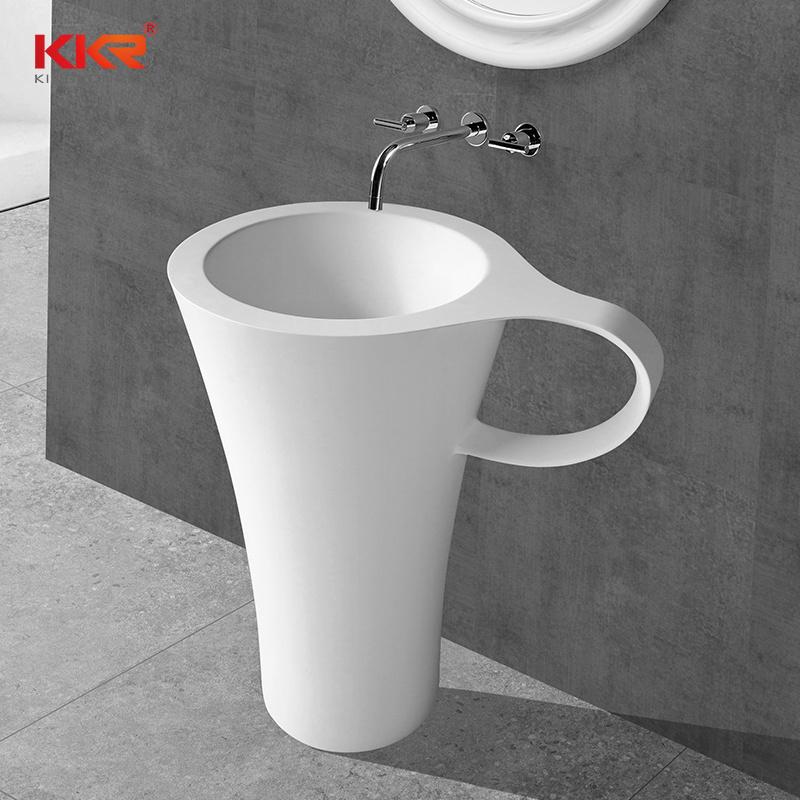 hot item bathroom round stone freestanding pedestal sink