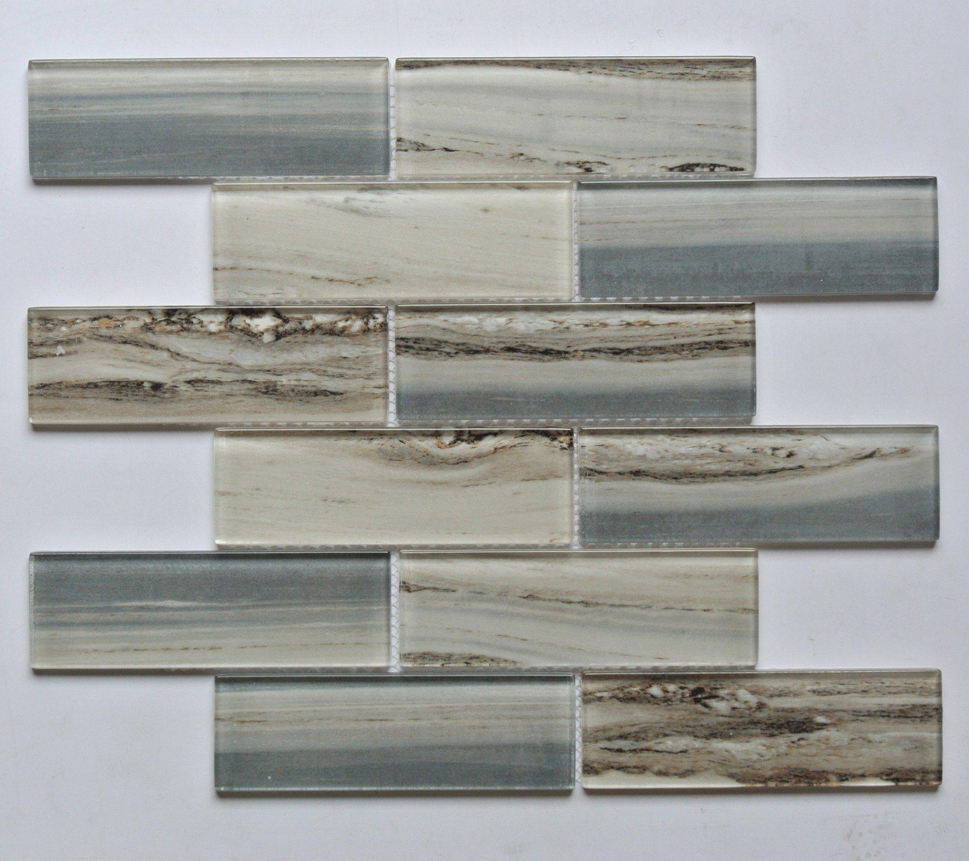 China High Quality Wooden Pattern Laminated Crystal Glass Mosaic Backsplash Glass Mosaic Wall Tiles G849015 B China Glass Mosaic Mosaic Tile