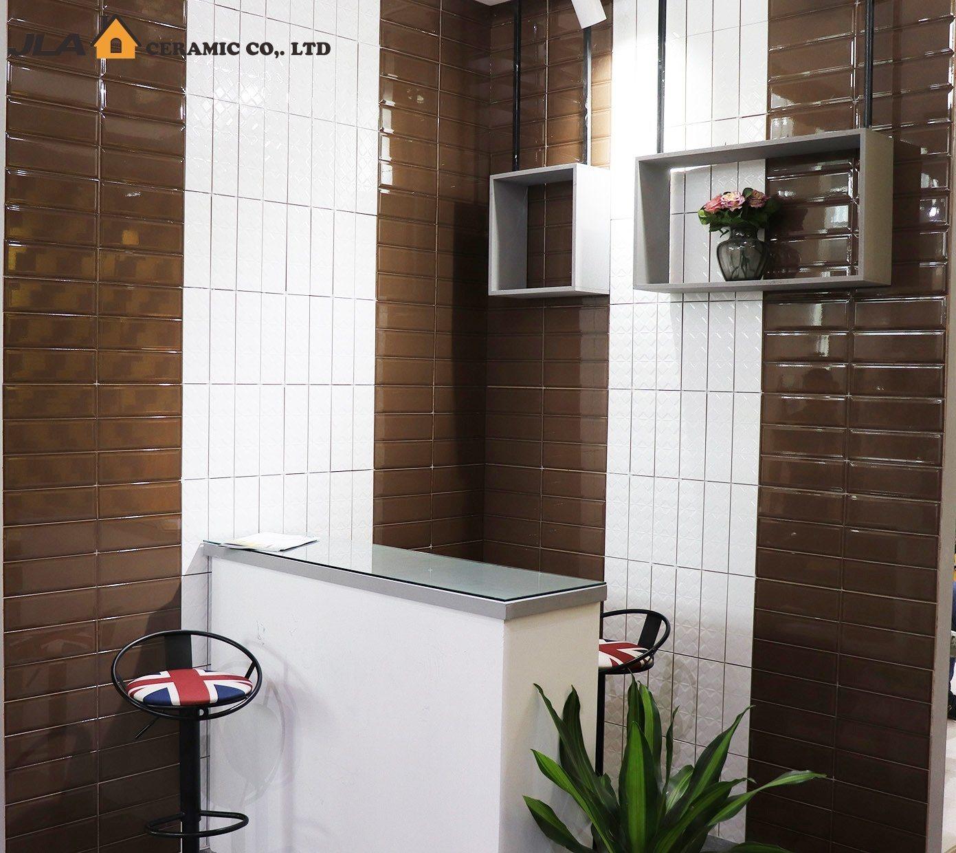 hot item brown chocolate4x12inch 10x30cm ceramic wall tile kitchen tile peel stick tile