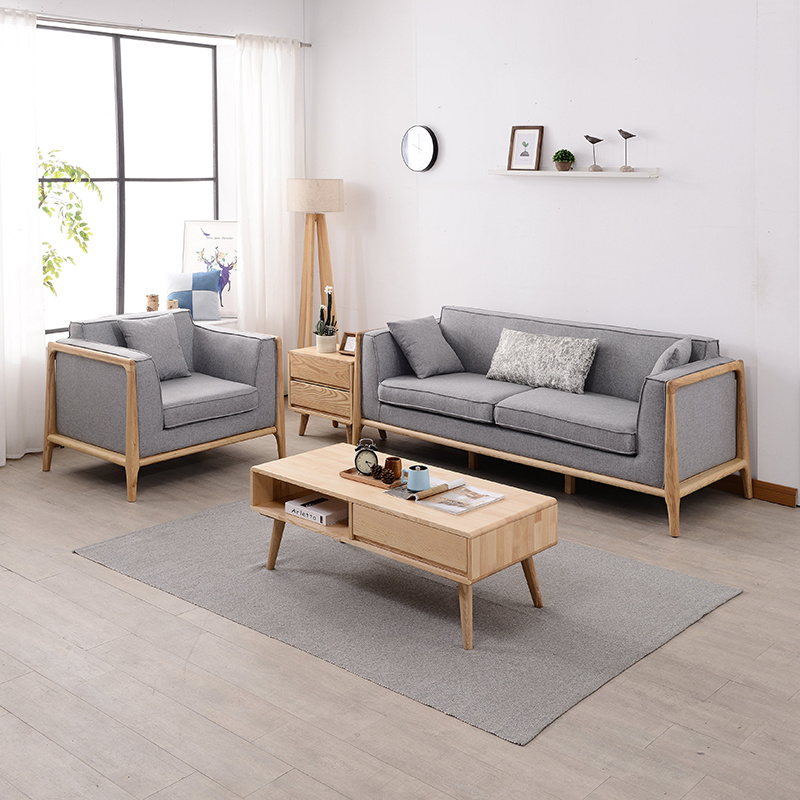 wood frame living room furniture gardner white sets china modern home wooden fabric sofa set for