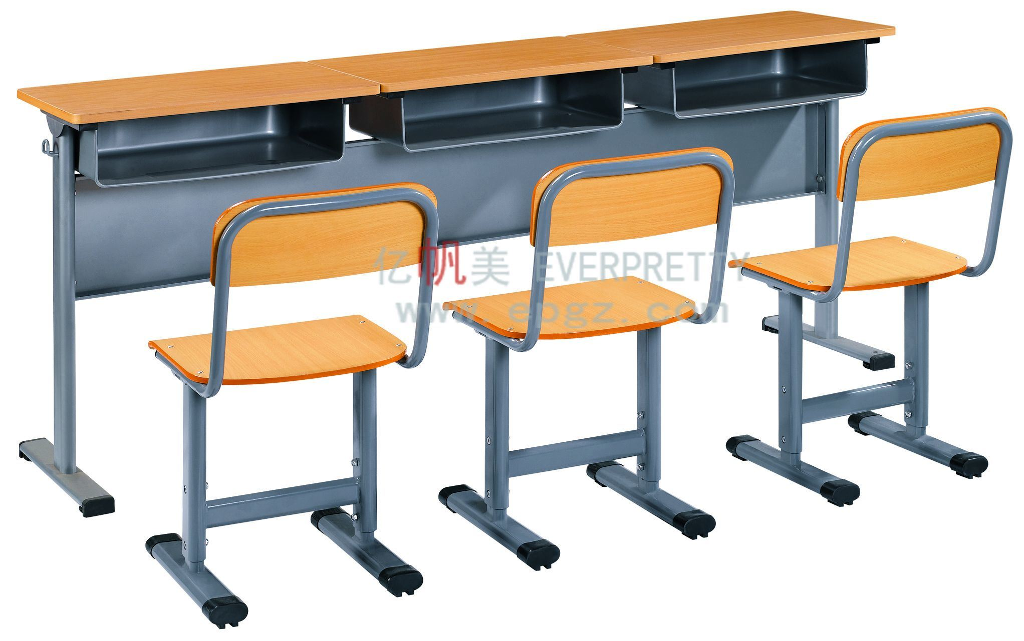 School Table And Chairs China Popular 3 Seater Student Desk And Chair School Table