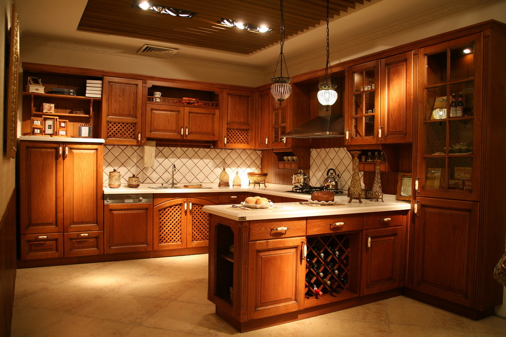 China American Kitchen Cabinets Raised Style Solid Wood
