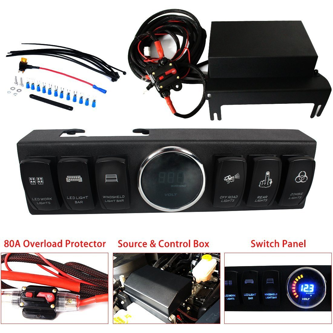 hight resolution of 2009 2016 jeep wrangler jk jku control box 6 switch pod electronic relay system module panel wiring harness kit with rocker switch mount power up to 6