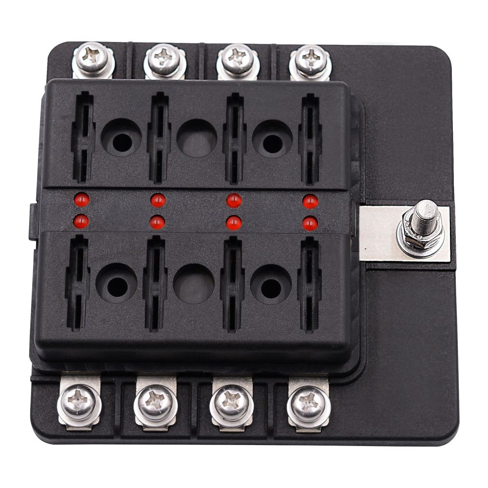 medium resolution of 8 way blade fuse box holder with led light damp proof block marine car boat automotive