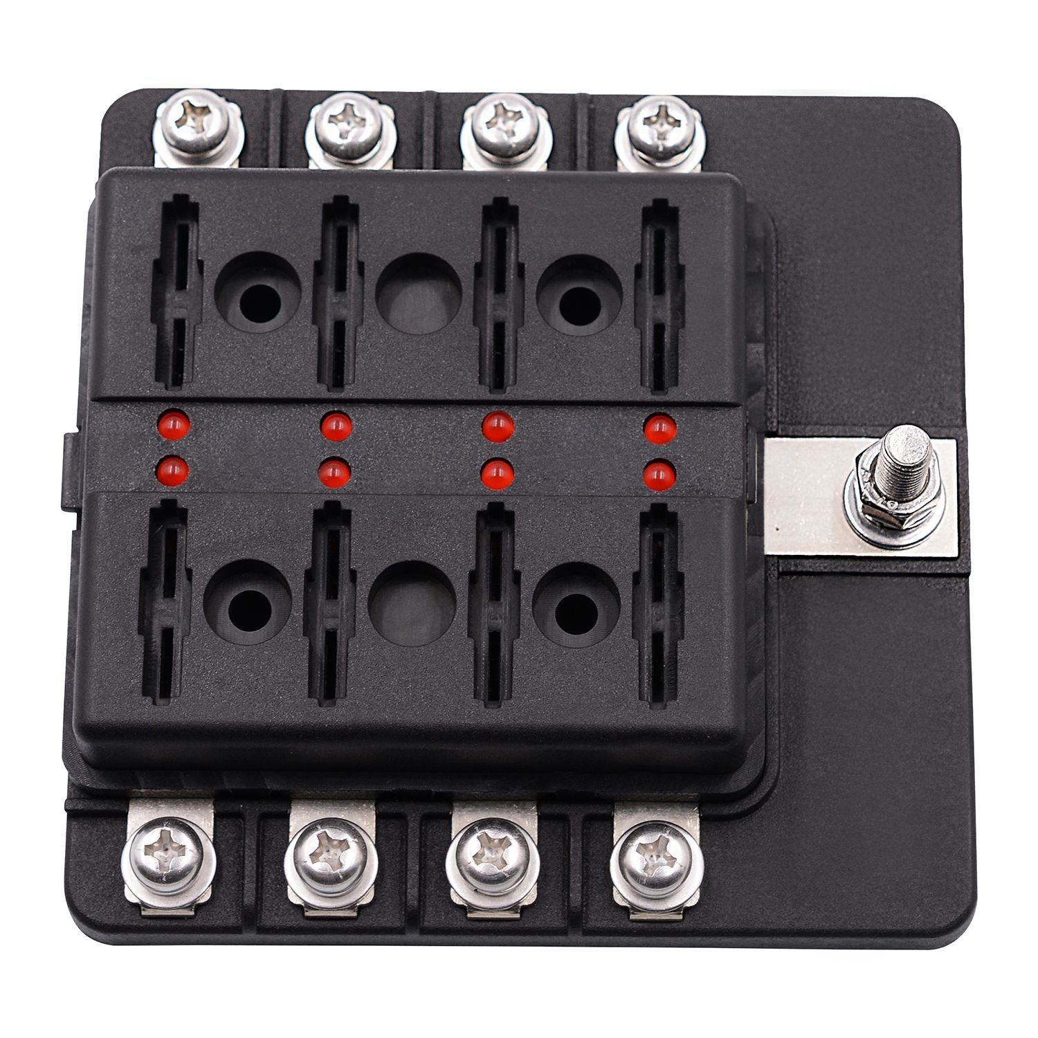 hight resolution of 8 way blade fuse box holder with led light damp proof block marine car boat automotive