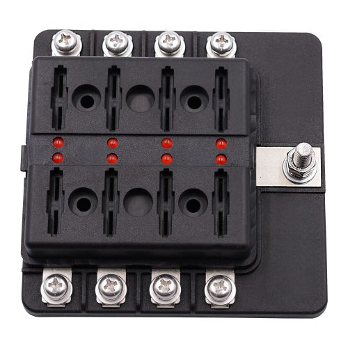 small resolution of 8 way blade fuse box holder with led light damp proof block marine car boat automotive