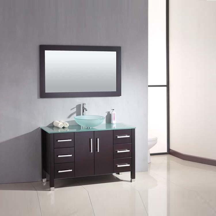 China Hot Selling Single Sink Solid Wood Glass Countertop Rustic Bathroom Vanity China Bathroom Vanity