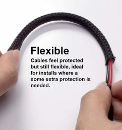 black expandable braided sleeving auto wire harness cover sleeve for cable and hose protection [ 1001 x 1001 Pixel ]