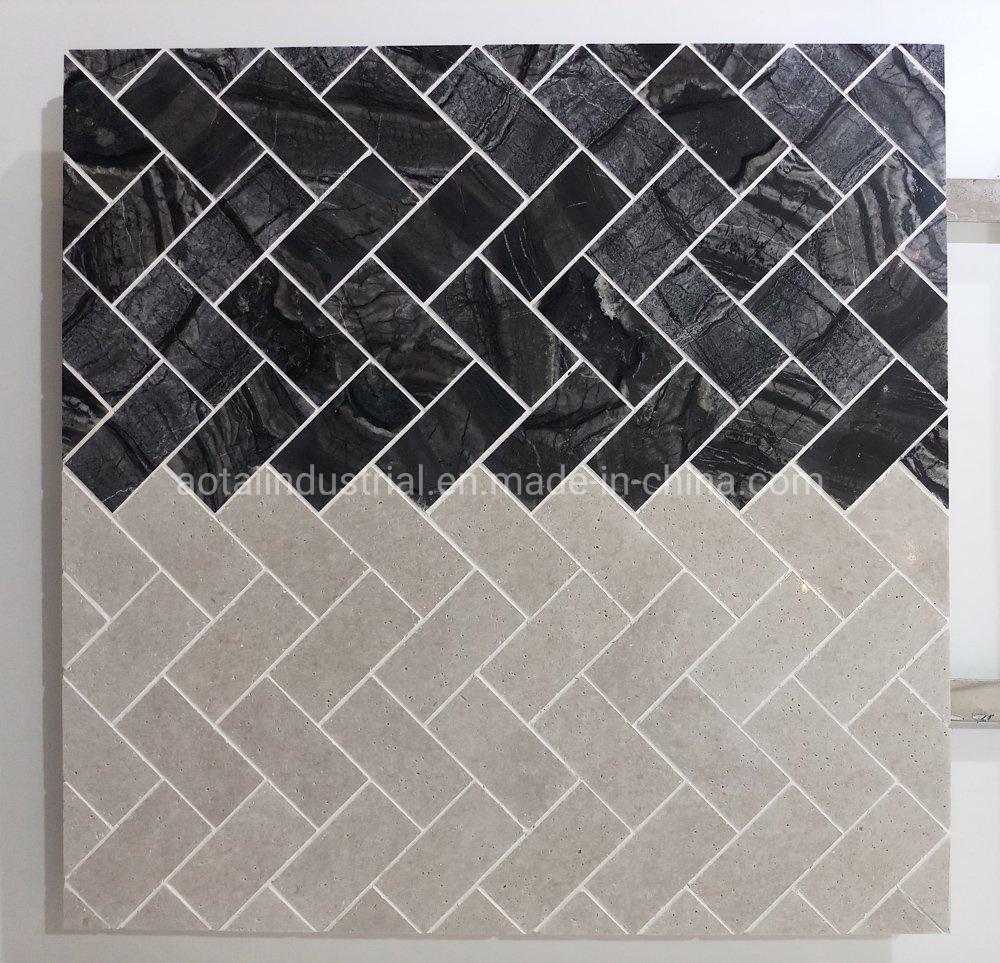hot item hot popular style black herringbone marble mosaic for backsplash wall tile