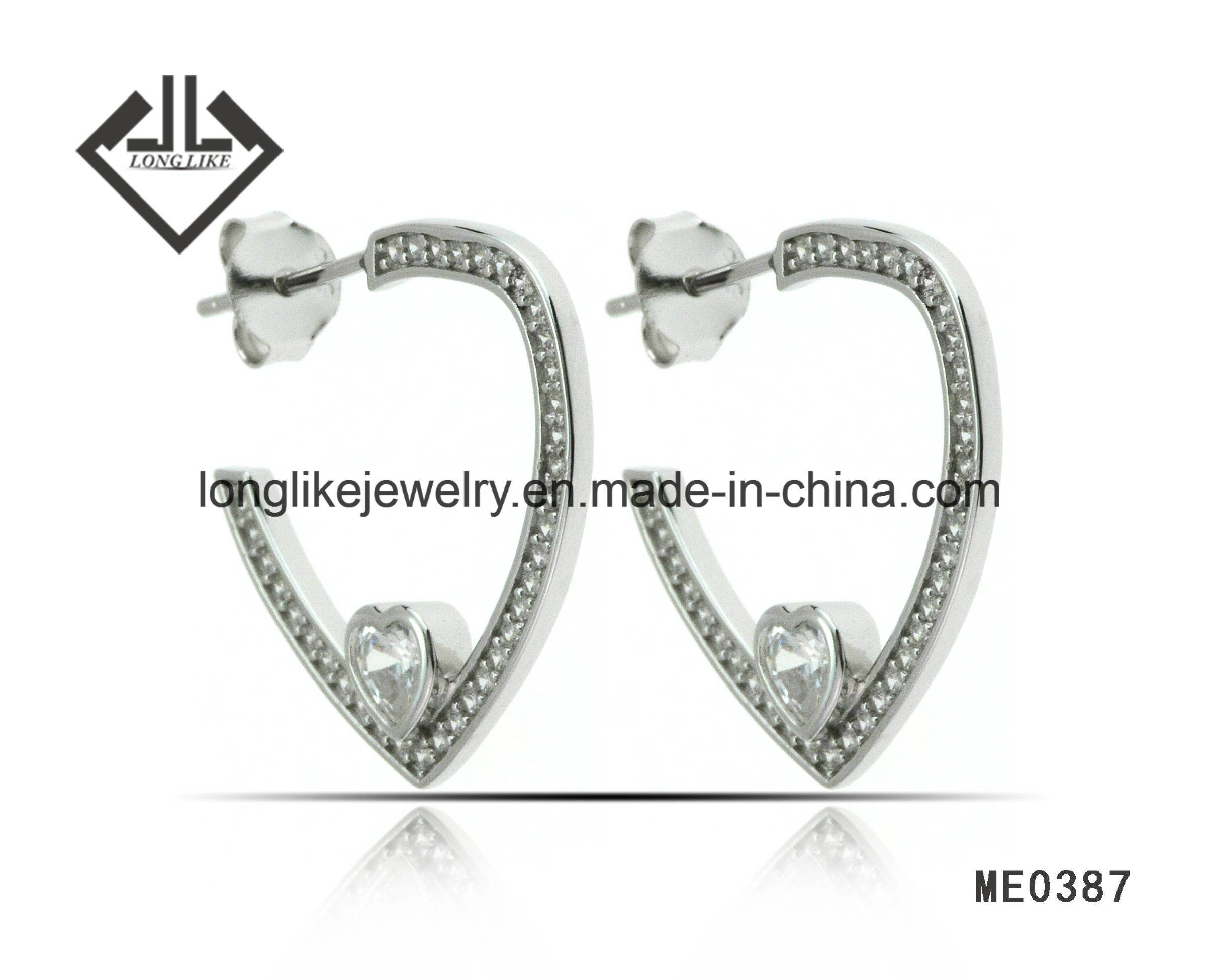 China Wholesale Silver Jewelry Fashion Earring Hoop