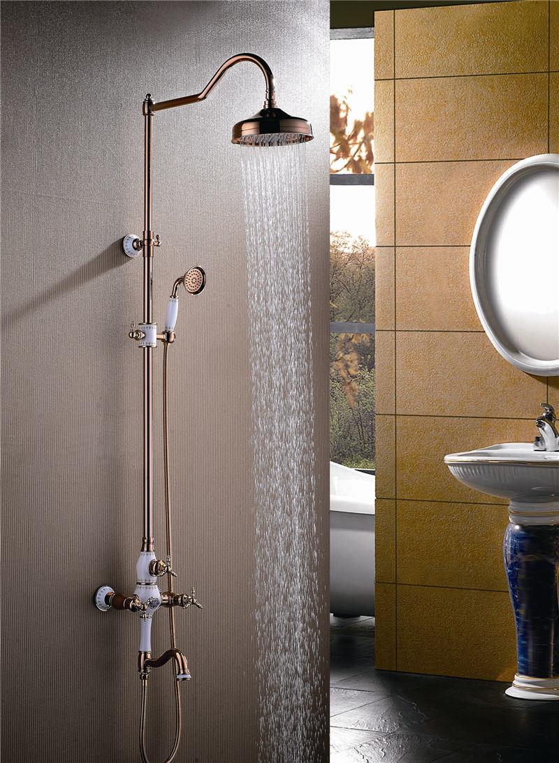 Hot Item New Design Ceramic Double Handle Zf 602 1 Antique Brass Rain Shower Set