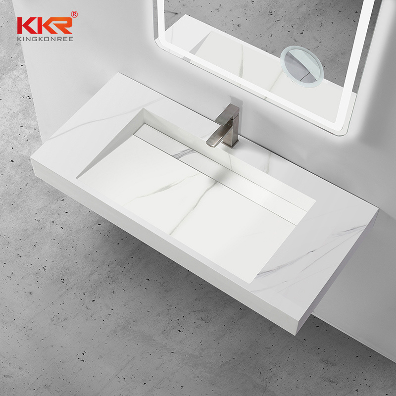 hot item commercial wall mount artificial marble stone bathroom sink