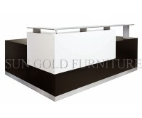 China Modern Simple L Shape Glass Top Office Reception ...