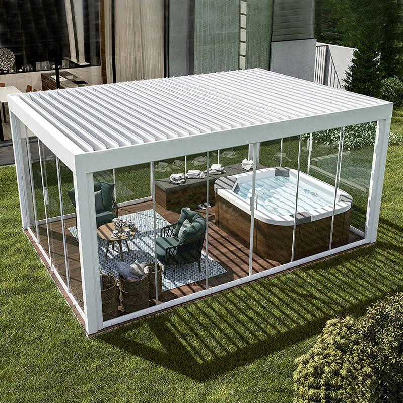 Waterproof Aluminium Gazebo Motorized Garden Outdoor Bioclimatic Pergola With Operable Louver Roof China Pergola Aluminum Pergola Made In China Com