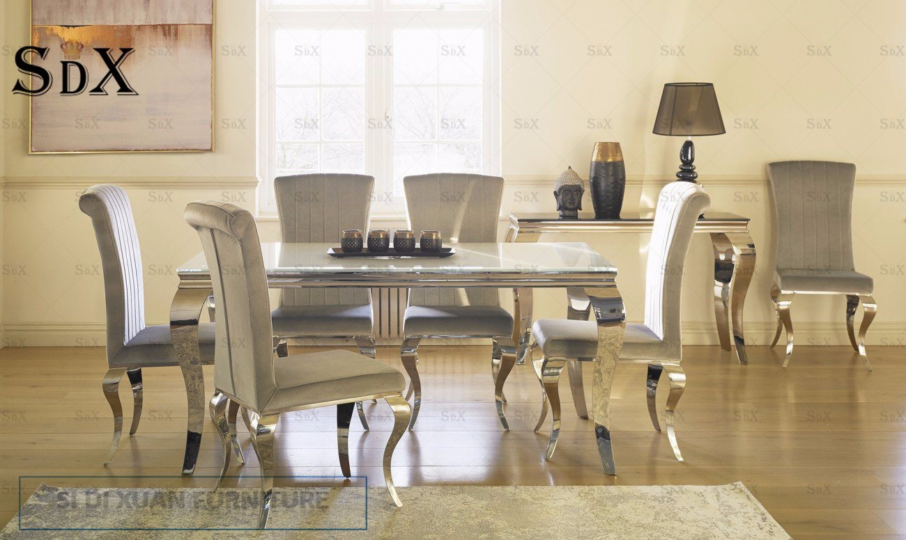 White Dining Room Chair Hot Item Vida Living Louis White Dining Table And 6 Silver Nicole Chairs 180cm