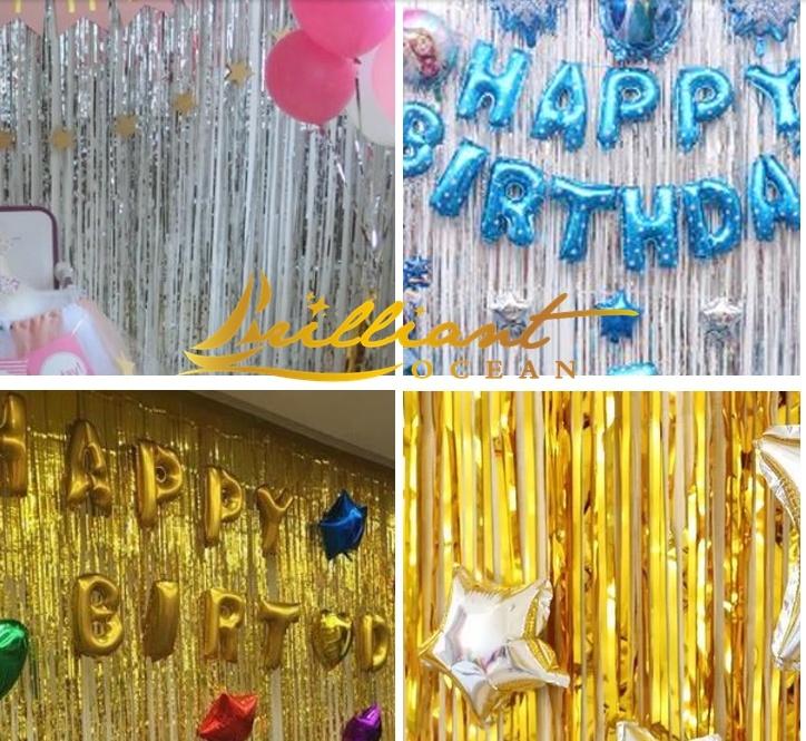 china metallic foil curtain birthday