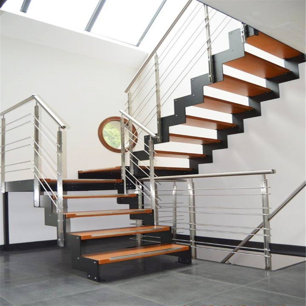 China Stainless Steel Staircase With Solid Wood Steps Cable   Steel Staircase Designs For Homes   New Model   Inside   Railing   Balcony   Unique