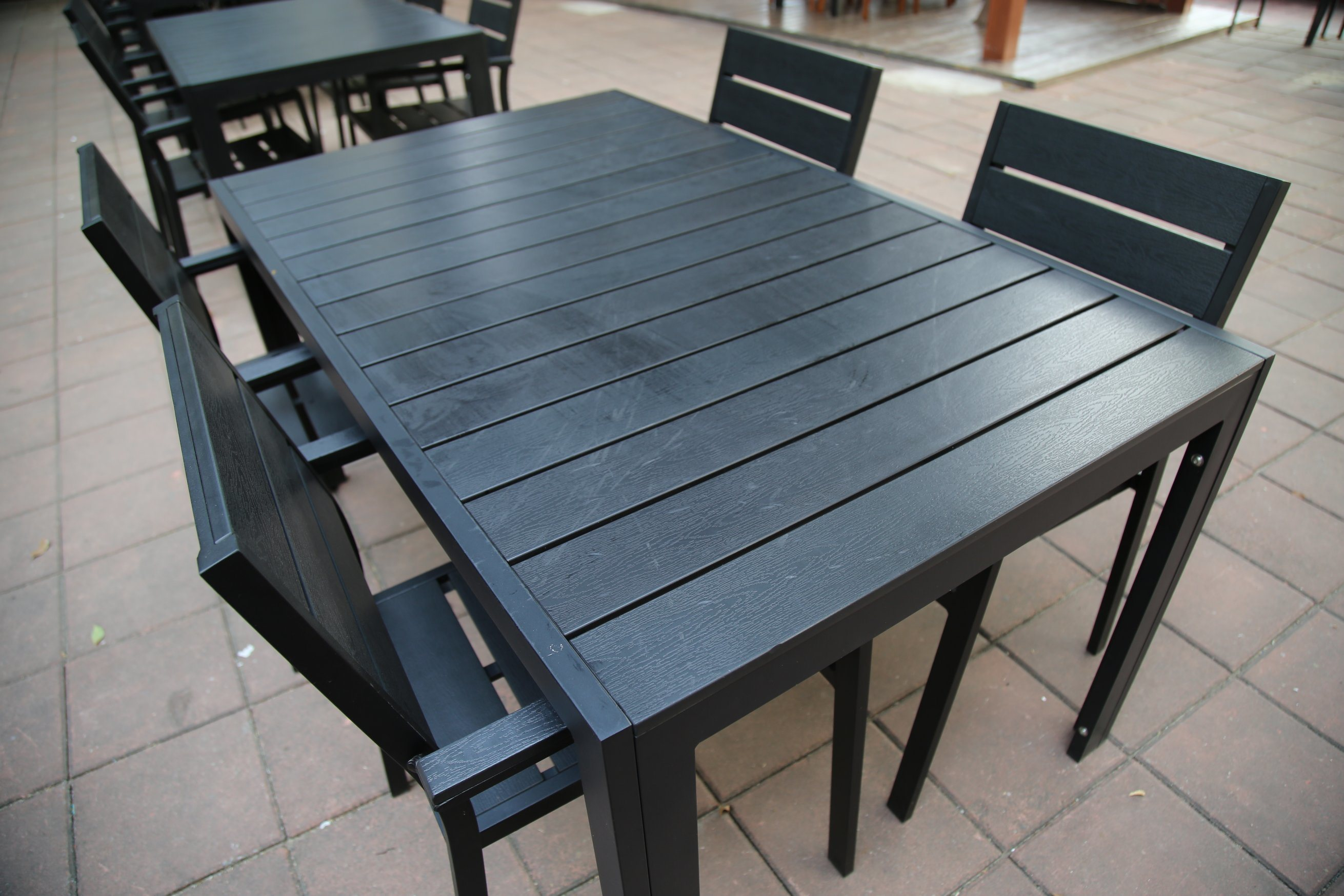 China American Standard Wholesale Outdoor Restaurant Polywood Coffee Wooden Dining Table Pwt 15503 Black China Outdoor Chair Dining Furniture