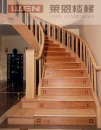 China Costume Solid Oak Wooden Stairs, Straight Stairs ...