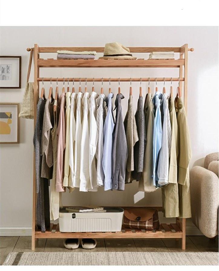 hot item display rack indoor clothes stand simple modern bedroom solid wood household coat rack