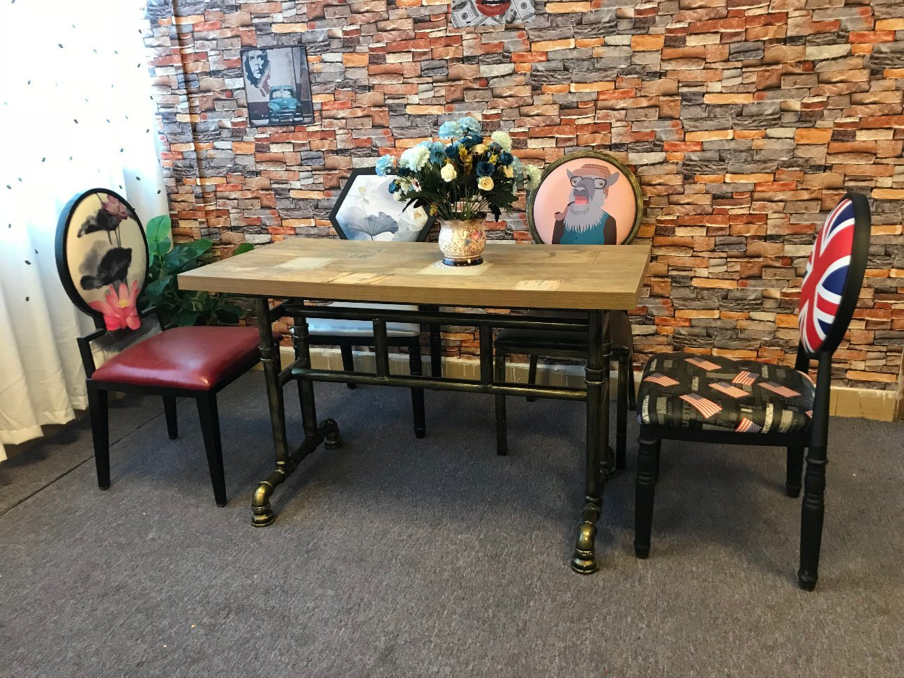 China American Industrial Style Water Pipe Design Iron Restaurant Dining Table Chair Sets China Dining Table Wooden Board Table
