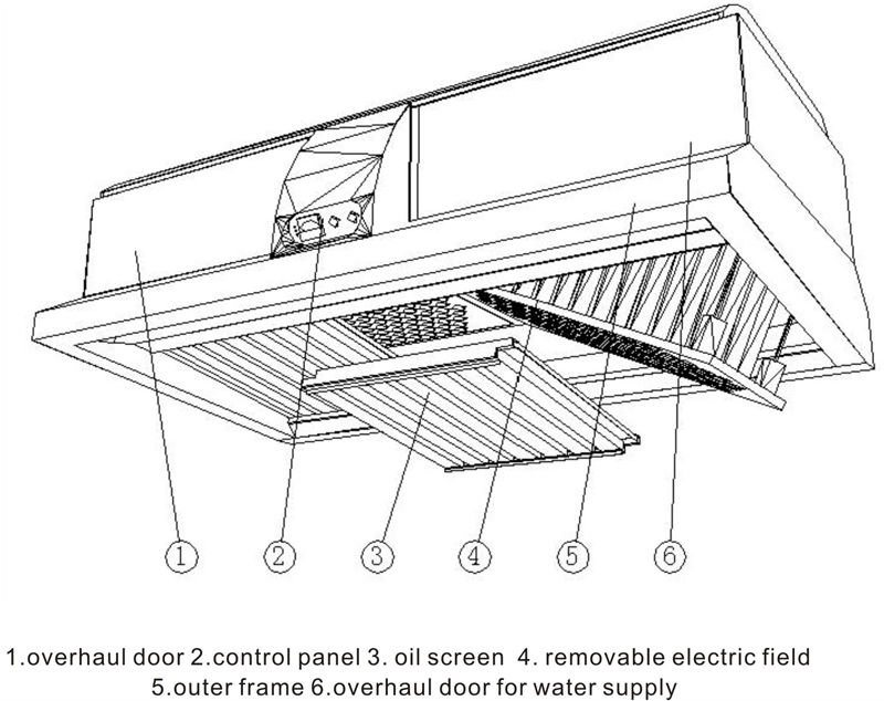 China Commercial Kitchen Cooking Hood With Built-in Esp