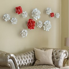 Living Room Ornaments Interior Decoration Of Small In India China Handmade Wall Decorations Creative Ceramic Flowers