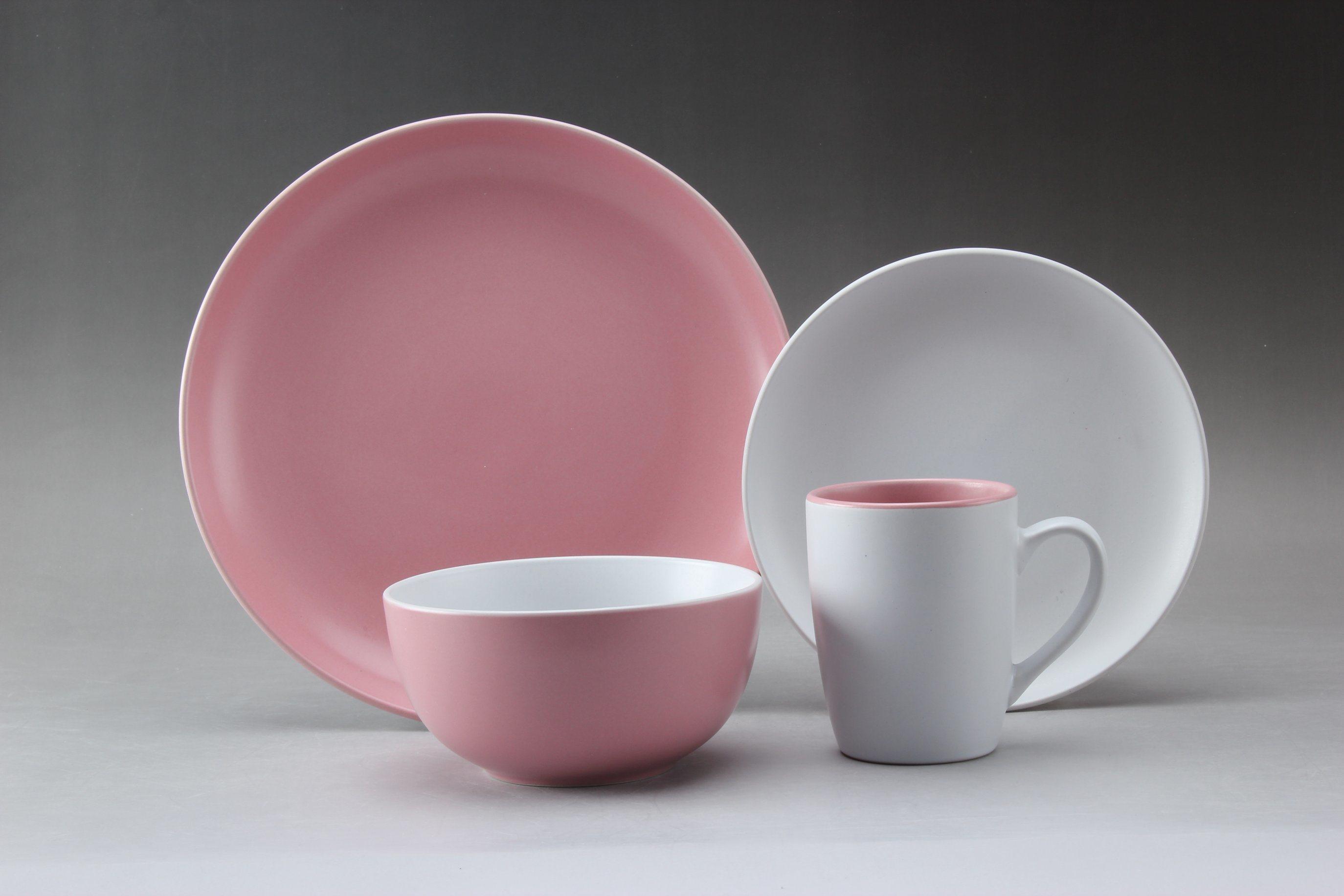 china 16pcs stoneware dinner set pink