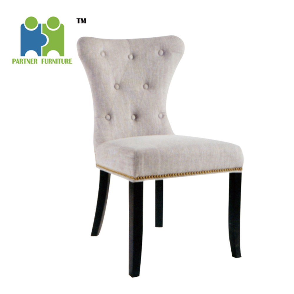 Cheap Dining Chair Hot Item Louis Wooden Fabric Chair Cheap High Back Modern Dining Chair With Nails Around