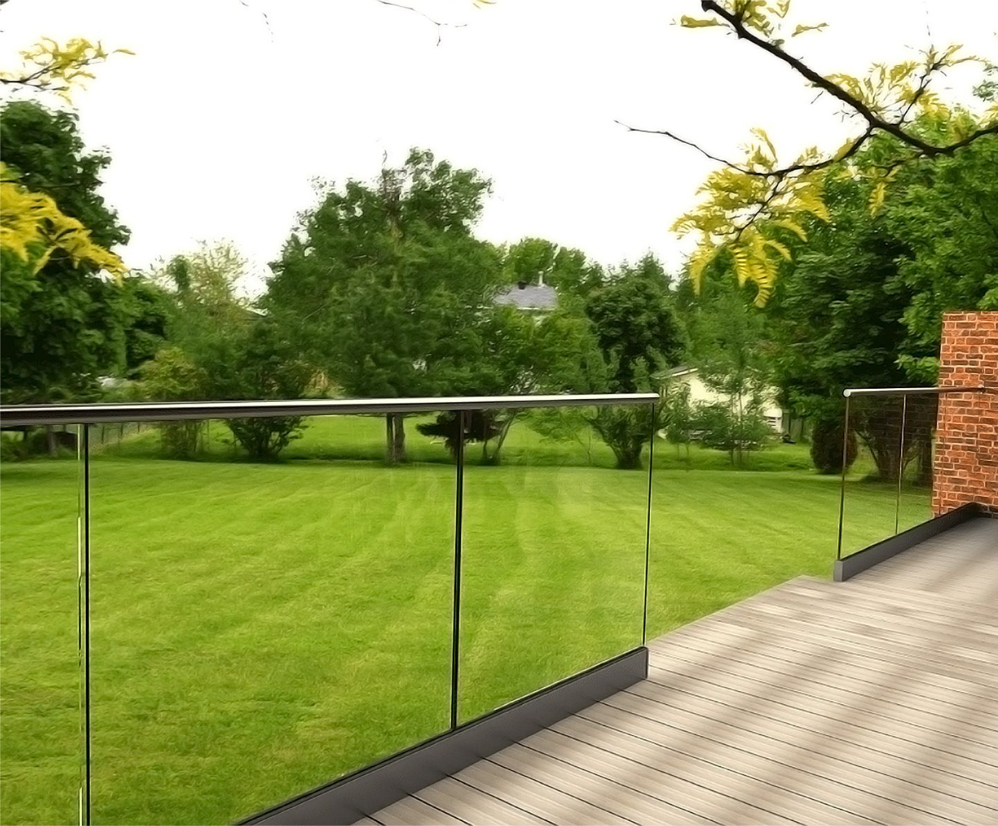 hot item floor recessed decking glass railing handrail for patio garden fence