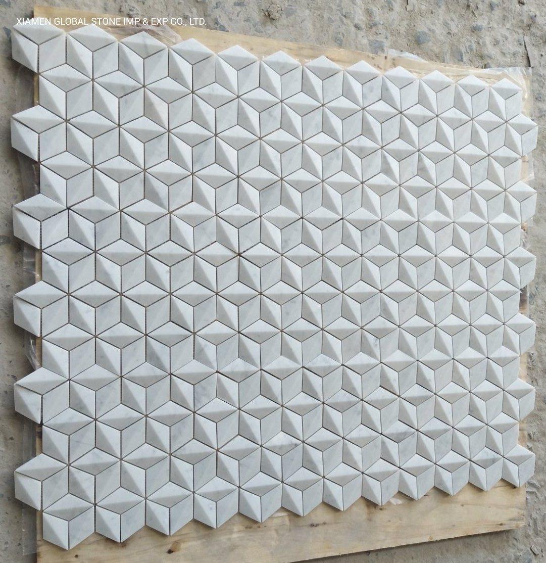 china white carrara marble rhombus