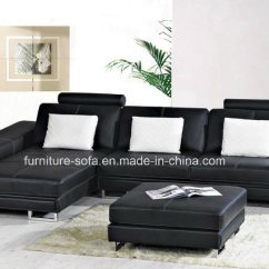 L Shaped Black Leather Sofa Set Sofas Twin Cities China Shape With Cushions Ottoman S048