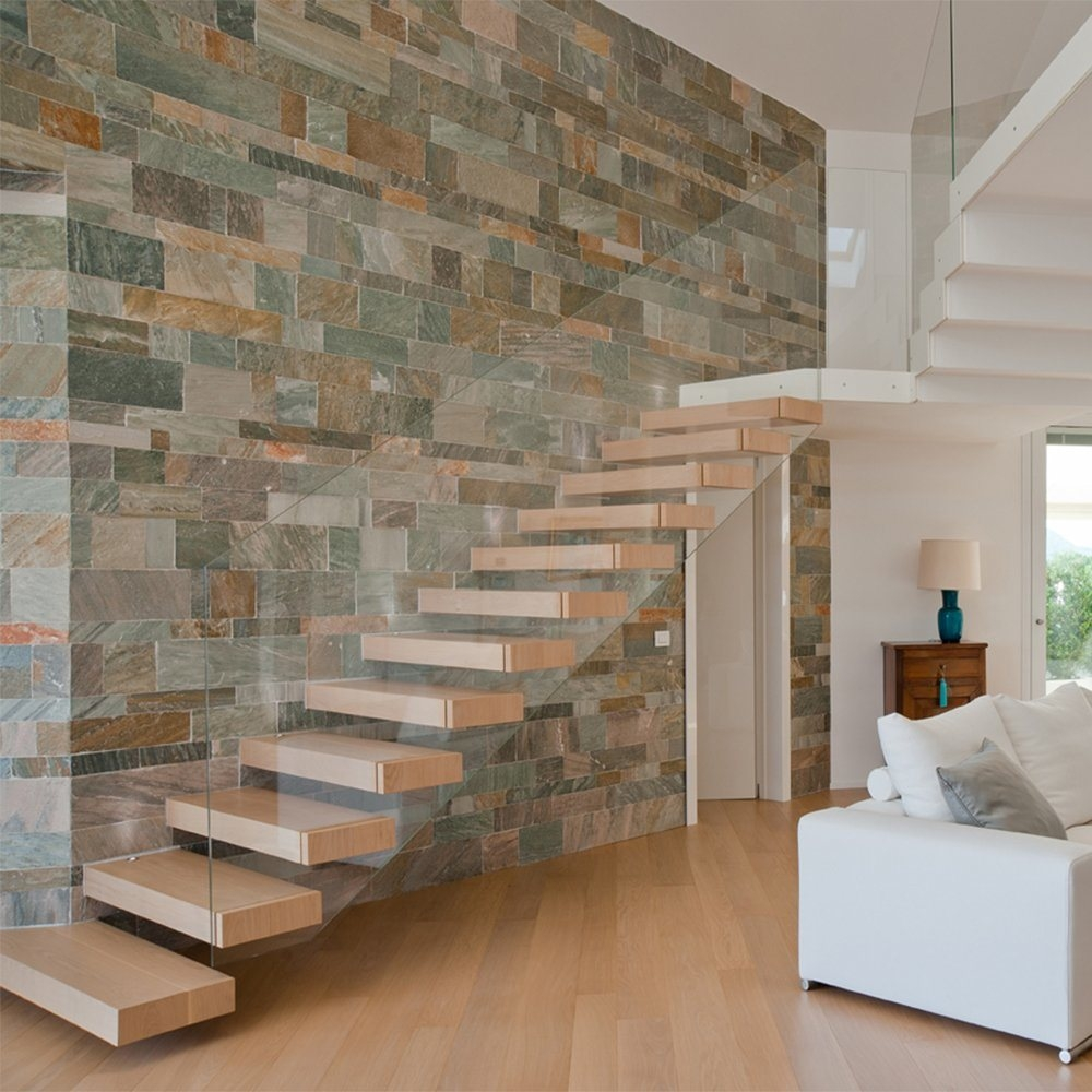 China Invisible Beam Floating Staircase With Thick Wood Step And | Floating Stairs With Glass Railing | Wall | Commercial | Glass Staircase | Thin Glass | Modern