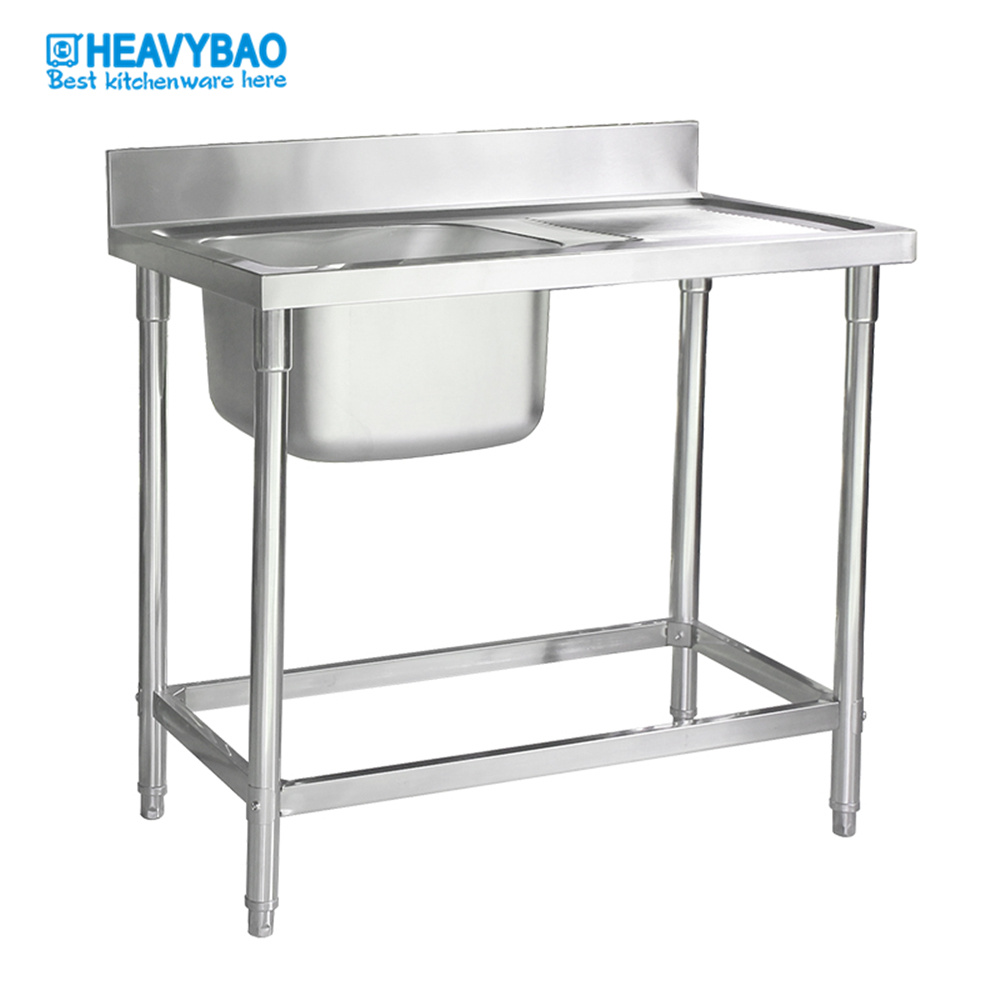 hot item heavybao free standing commercial stainless steel kitchen sink with drain board