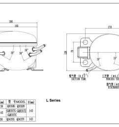 hermetic freezer compressor model qd43yg r600a gas 220v [ 1363 x 951 Pixel ]