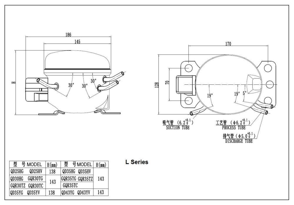 medium resolution of hermetic freezer compressor model qd43yg r600a gas 220v