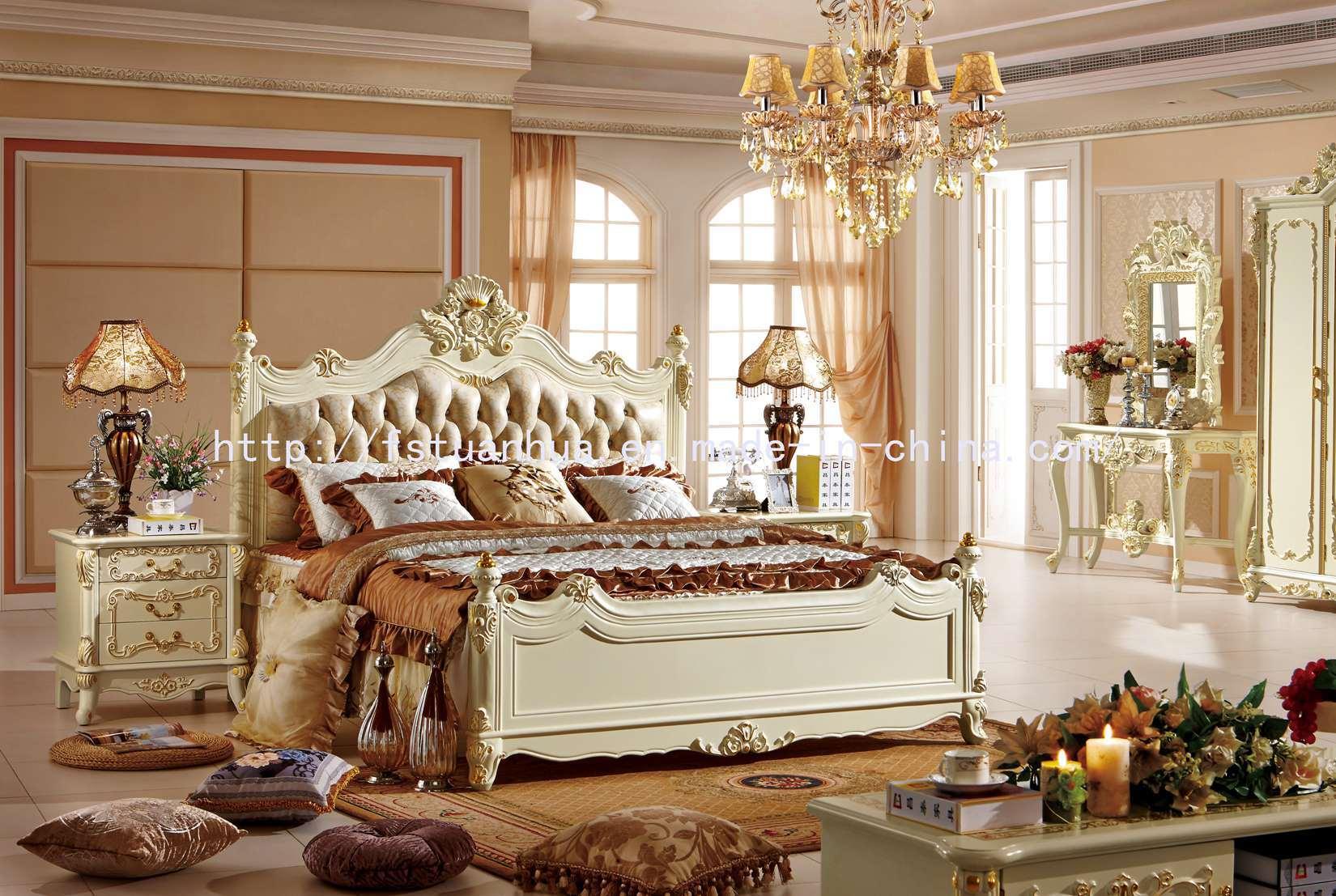 Insieme di camera da letto neoclassico francese bianco del cuoio di legno solido di stile della