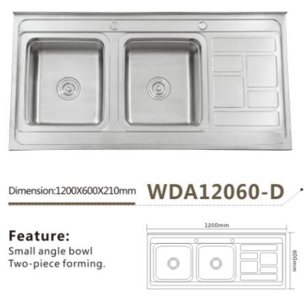 Cuisine En Acier Inoxydable Double Vasque Lavabo De Soudage Wda Modele12060 D Iran Photo Sur Fr Made In China Com