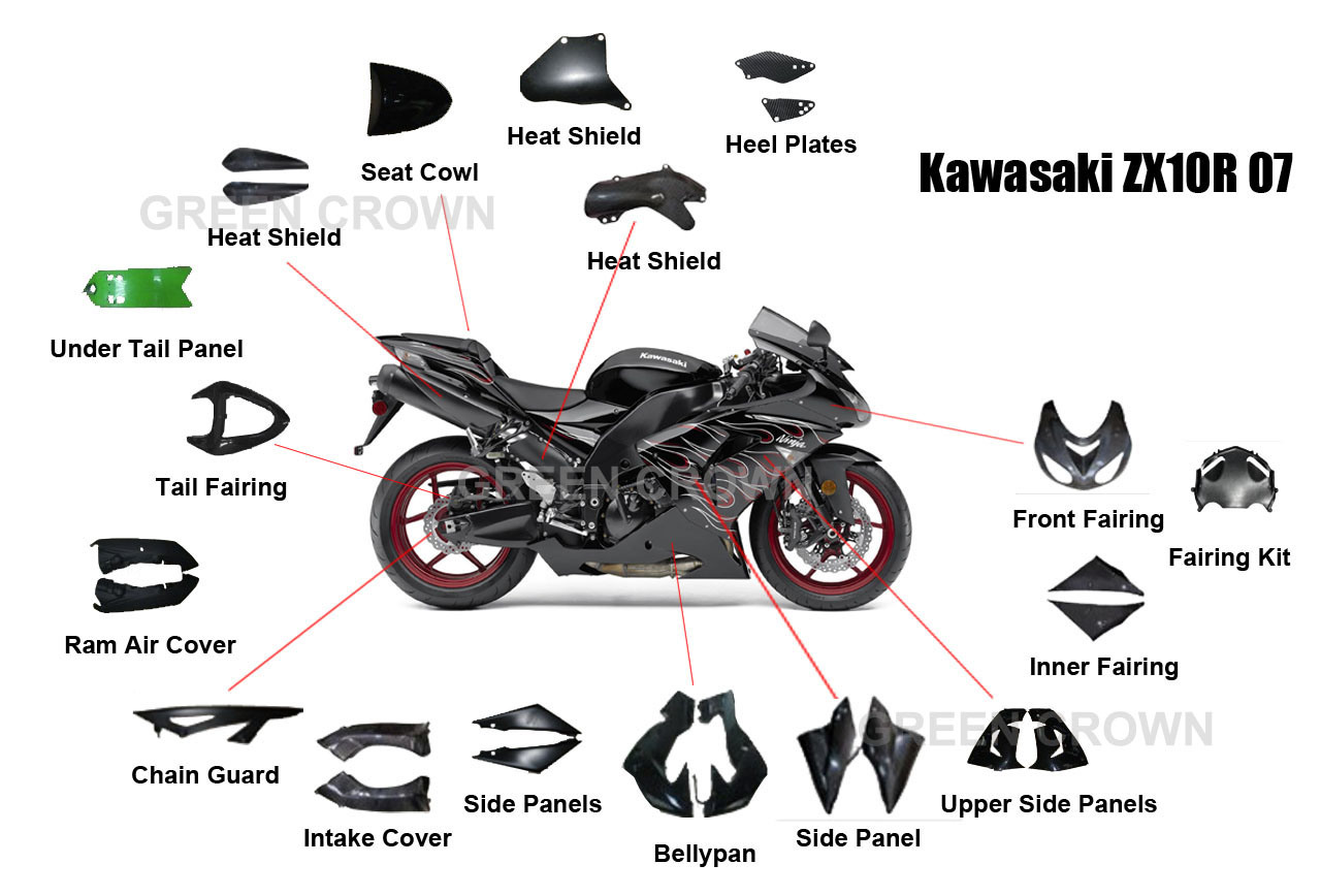 Pieces De Moto De Carbone Pour Kawasaki Zx10r 07 Pieces De Moto De Carbone Pour Kawasaki Zx10r
