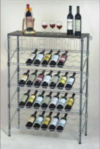 China Adjustable 5 Tiers Slanted Metal Wine Rack, Chrome ...