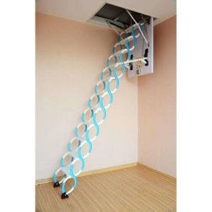 China Retractable Metal Telescopic Loft Ladder Folding Folding   Folding Loft Stairs With Handrail   Circle Stair   Design   Limited Space   Stairway Osha   Semi Automatic
