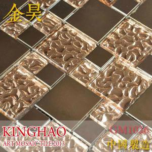 kinghao copper metal pattern textured glass mosaic tile for kitchen backsplash k00167
