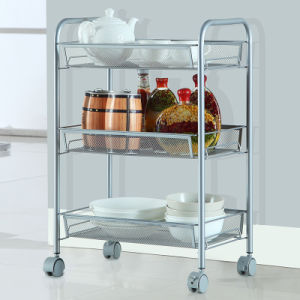 wire kitchen cart island sink china 3 tier home hand metal trolley with wheels rack kitchenware basket