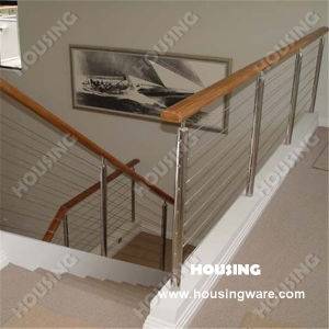 China Stainless Steel Stair Railing With Wooden Handrail China   Wood And Wire Stair Railing   Hampton Style   Exterior   Closed Staircase   Horizontal Round Bar   Square Wire