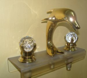 ti gold 3 pcs widespread lavatory bathroom sink dolphin faucet mixer tap crystal handles