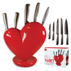 Red Kitchen Knife Set Sink Cabinet Size China Heart Block 5pcs With Basic Info