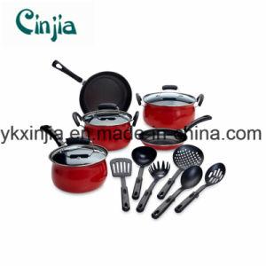kitchen pot sets sinks okc china 14 piece red non stick cookware set home