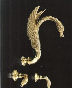 gold pvd finish 3 pcs swan bathtub faucet wall mounted swan shower faucet