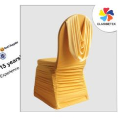 Ruched Spandex Chair Cover Dining Table 4 Chairs And Bench China Gold Polyester Lycra Ruffled Wedding Banquet With Valance